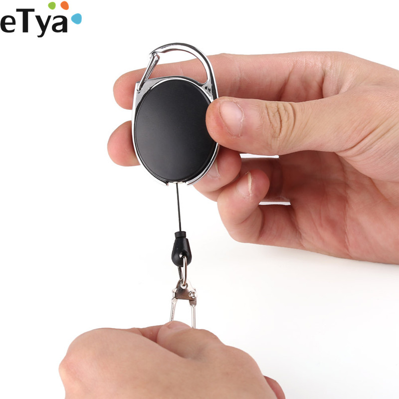 ETya Women Men Retractable Reel Pull Key Holder Keychain ID Badge Lanyard Name Tag  Pocket Key Ring Bag Chain Clip