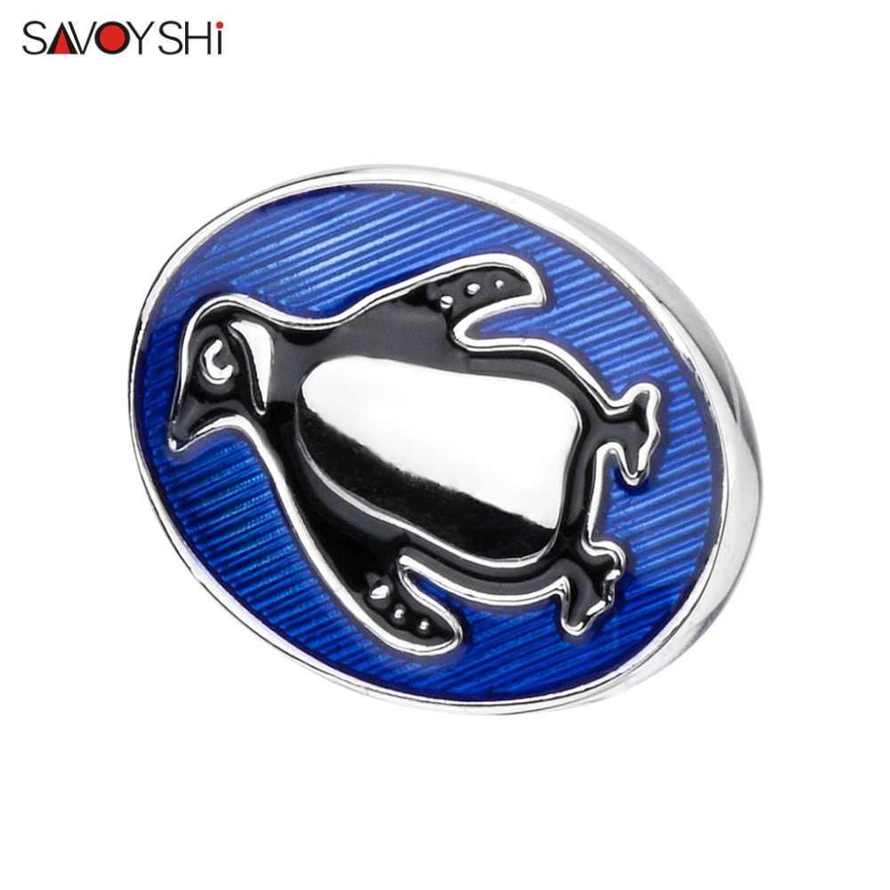 SAVOYSHI Funny Blue Penguin Shape Men Lapel Pin เข็มกลัดเข็มกลัดยี่ห้อ Fine ของขวัญสำหรับบุรุษเข็มกลัดปลอกคอเครื่องประดับที่กำหนดเองชื่อ