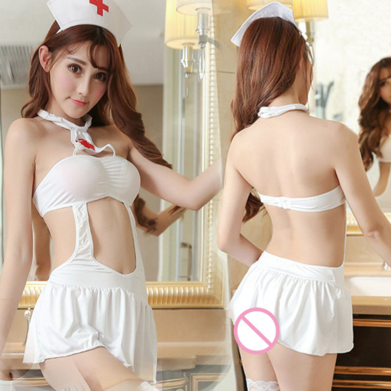 Sexy Lingerie Women Nurse Club Cosplay One-piece Hollow Halter Dress Sets Without Stockings Night Baby Dolls