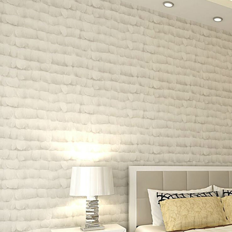 Creamy White Angel Feather Non-woven Wallpaper Realistic Modern 3D Art Luxury  Home Decor Bedroom Living Room Background creamy white living room bedroom damask wallpaper