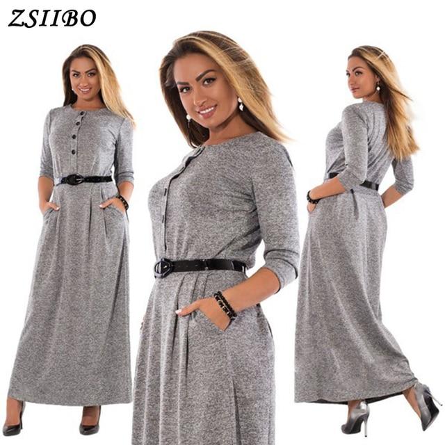 4XL 5XL 6XL 2018 Autumn Winter Dress Big Size Elegant Long Sleeve Maxi  Dress Women Office 92908f501