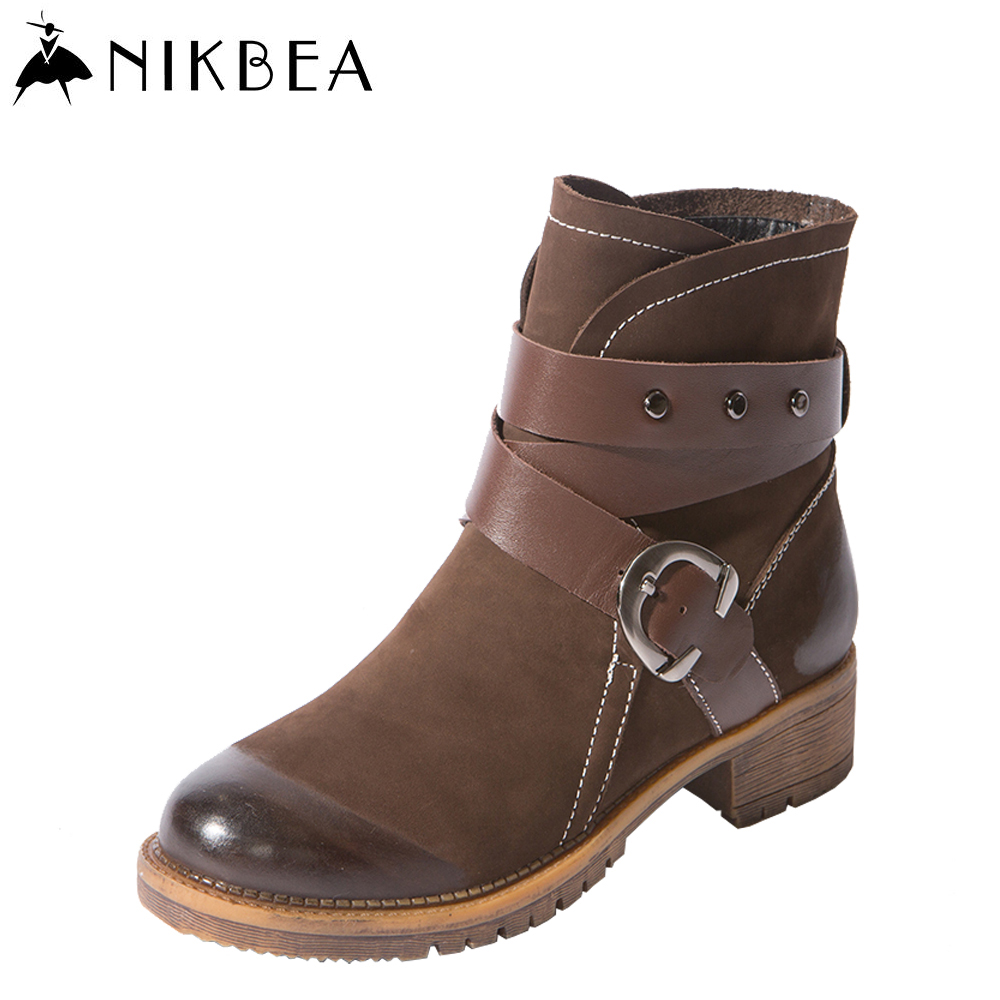 Nikbea Handmade Vintage Ankle Boots for Women Boots Genuine Leather Flat Boots 2016 Winter Booties Autumn Shoes Botas De Mujer front lace up casual ankle boots autumn vintage brown new booties flat genuine leather suede shoes round toe fall female fashion