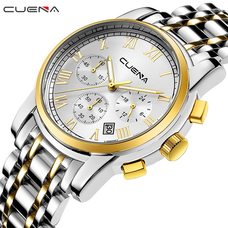 CUENA Fashion Men Quartz Watch Mens Watches Top Brand Luxury Stainless Steel Waterproof Wristwatches Man Clock Relogio Masculino fashion watch top brand oktime luxury watches men stainless steel strap quartz watch ultra thin dial clock man relogio masculino