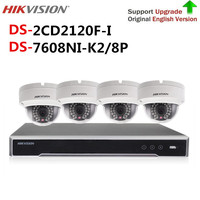 Original Hikvision cctv camera security system kit NVR DS 7608NI K2/8P & 4pcs 2MP IP Camera DS 2CD2120F I video surveillance