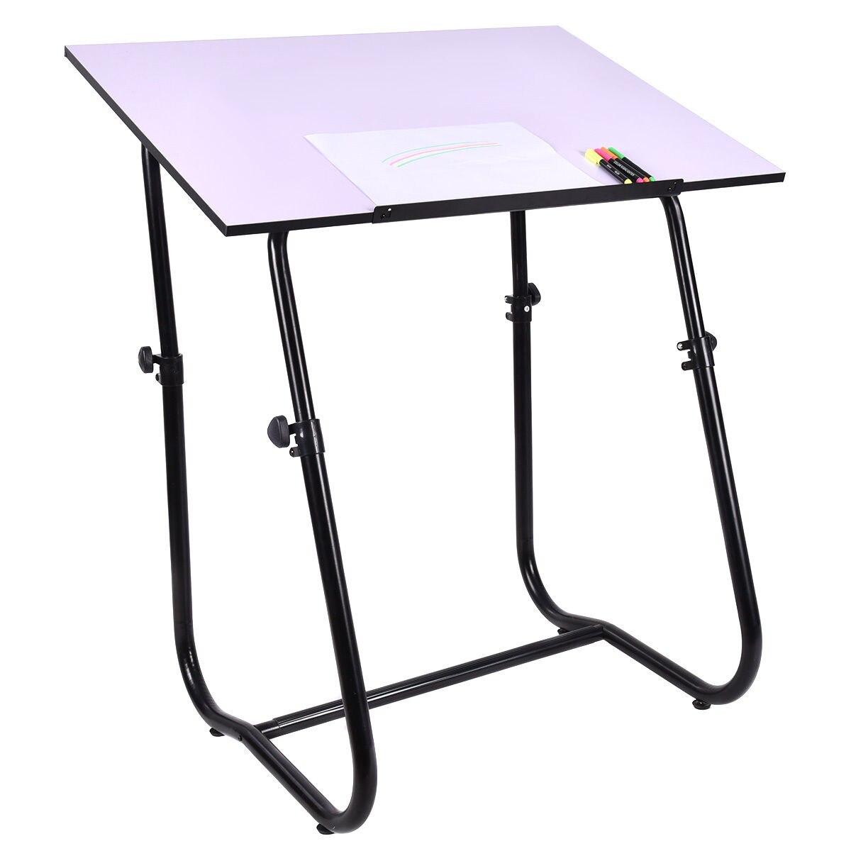 Giantex Drawing Desk Portable Drafting Table Adjustable Art Craft Workstation Hobby White Modern Study Furniture HW52824