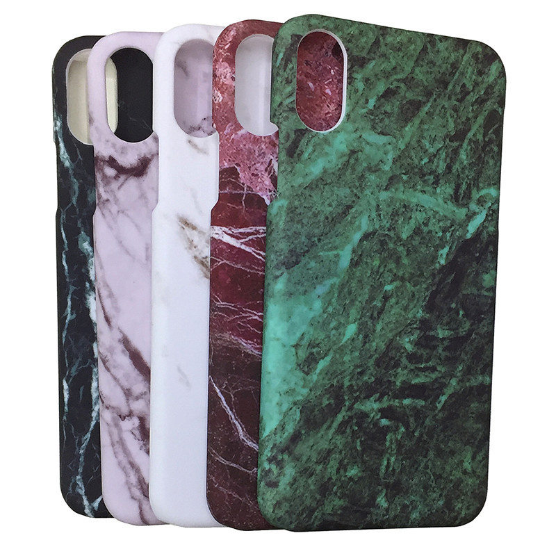 Hard Marble Granite Texture Glossy Pattern Phone Case Cover For iPhone X 8 7 Plus 6 6S Plus Sumsung Galaxy S7 Edge S8 S9 Plus