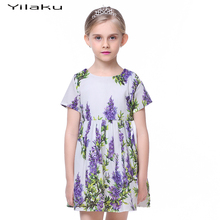 Girls Cotton Printed Casual Dress Summer Baby Girl Purple Lilac Dresses for Kids Flower Princess Children Clothing CA317