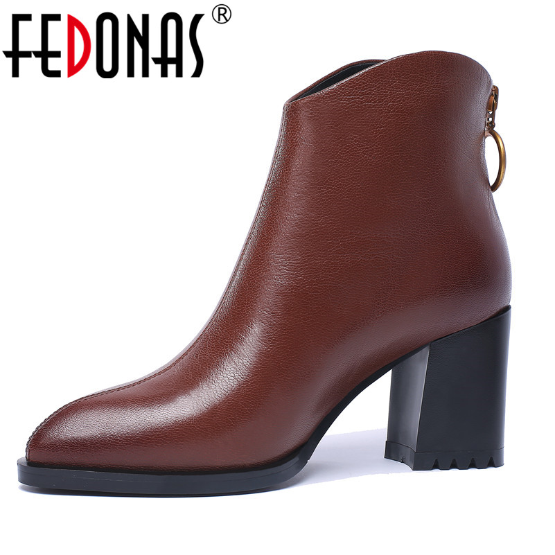 FEDONAS Fashion Women Ankle Boots Genuine Leather Autumn Winter Warm High Heels Back Zipper Motorcycle Boots Brand Shoes Woman цена 2017