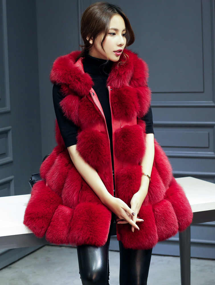 2018 new brand faux fur coat With Hooded women 8 colours faux fur jacket women Fluffy faux fur vest women