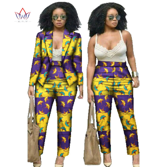 218c49bd54c African Dresses for Women Suits Women Winter Two Piece Set Top and Pants  Women Blazers and