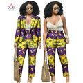 Vestidos africanos para Las Mujeres Trajes de Invierno de Las Mujeres de Dos Piezas de la Parte Superior y Pantalones de Las Mujeres Blazers y Chaquetas Mujeres Ropa 6XL BRW WY019