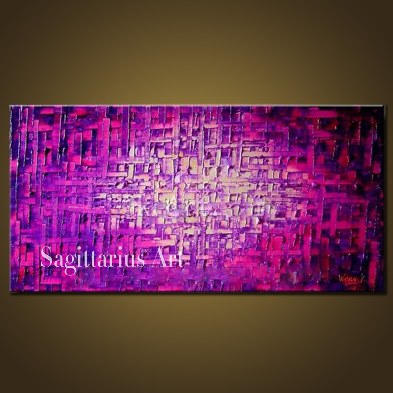 Hand Painted High Quality Modern Palette font b Knife b font Painting Fuchsia Metal Wall Art