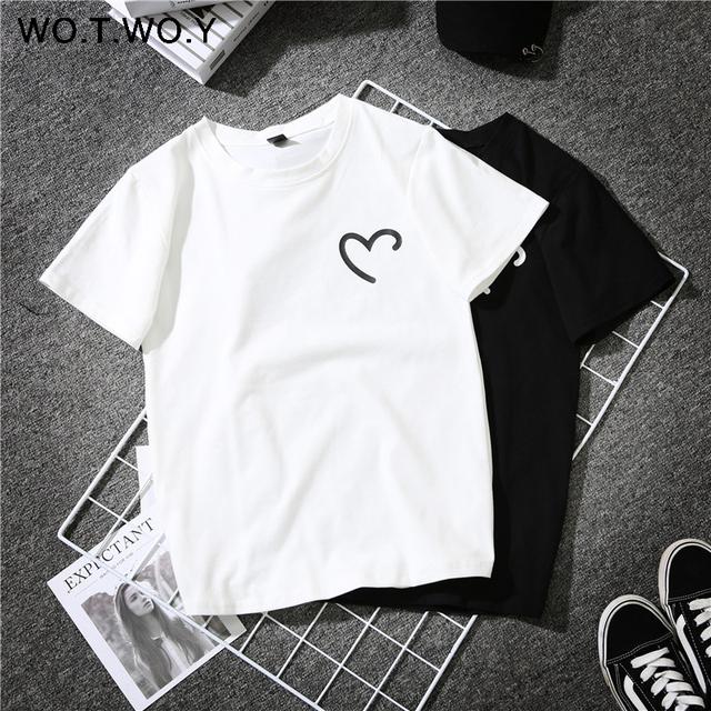 WOTWOY Funny Heart Print Summer T-Shirt Women Black White Female T-shirt Cotton 2018 Novelty Tee Shirt Femme Harajuku Streetwear