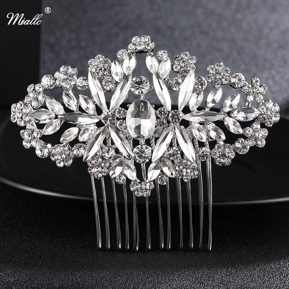 Miallo Bridal Hair Comb Vintage Hair Clips Bridemaid Prom Flower Crystal Rhinestone Headpiece Wedding Hair Accessories