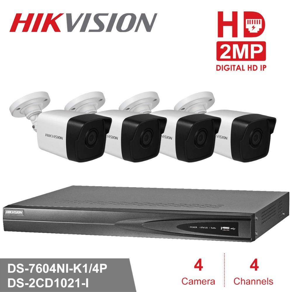 Hikvision 4CH PoE NVR KIT 1080P CCTV System 2MP Bullet IP Camera P2P Waterproof Outdoor IR Night Vision Video Surveillance KIT цена