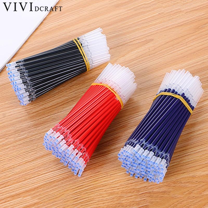 20pcsPack 0.5mm 0.38mm Black Red Blue Gel Ink Pen Refill Set Needle Bullet Caneta Refill Wholesale Vividcraft School Supplies