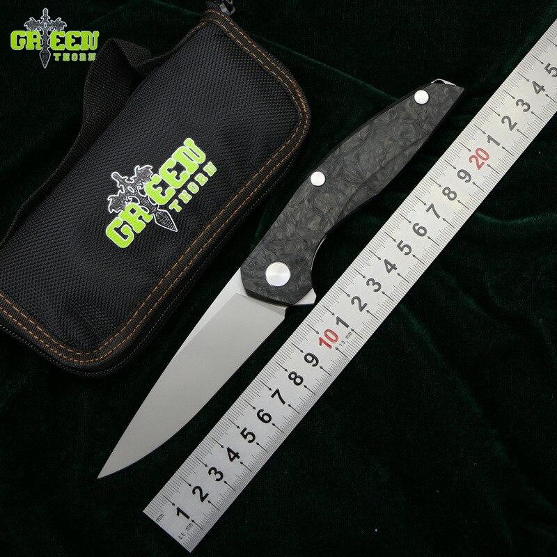 Espinho verde Flipper F111 M390 lâmina de Aço fibra de carbono cabo dobrável faca de acampamento ao ar livre bolso caça facas de frutas ferramenta EDC