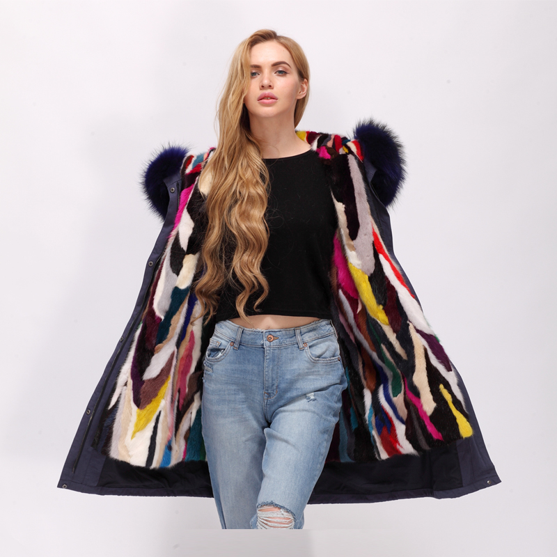 Real racoon fur hood with mink fur lining parka coat