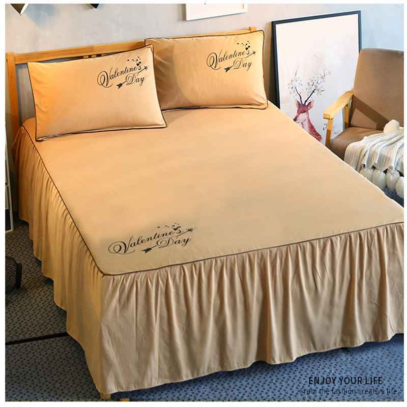 1 3pcs Ruffles Mattress Cover Romantic Princess Bed Skirt Bed Sheet Solid Color Bedspreads Flat Sheet Twin Queen King Size in Bed Skirt from Home Garden