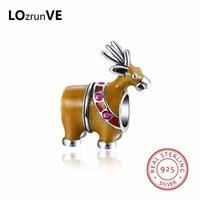LOZRUNVE 2018 Marke Silber 925 Sterling Silber Vintage Bunte Deer Form Charme DIY Perlen für Armband Halskette Großhandel