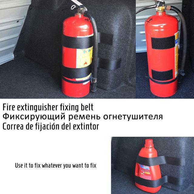 4 Pcs/Set Fire Extinguisher Car Trunk Belts Storage Bag Magic Tapes Fixing Bandage Bracket Stickers Straps Fastener Car Styling