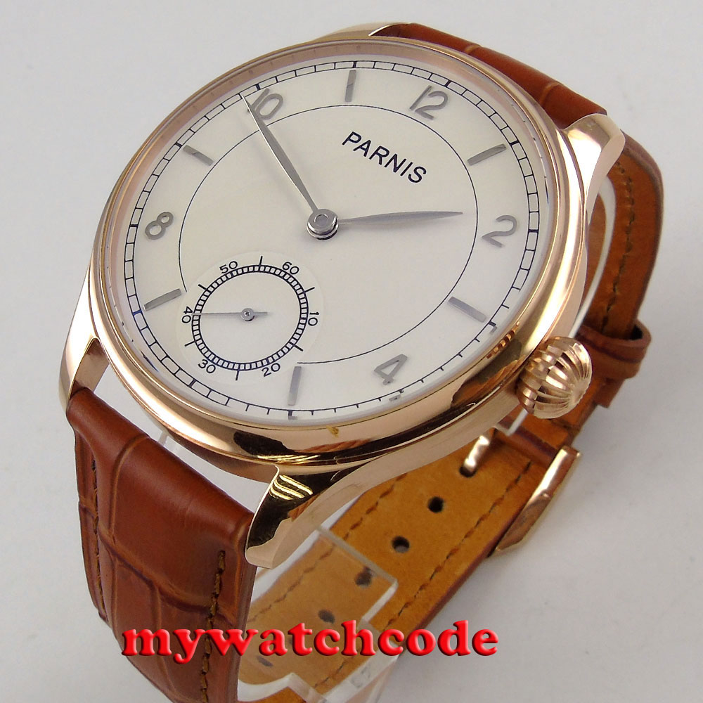 44mm parnis white dial brown strap rose golden case 6498 hand winding mens watch corgeut 44mm white dial rose golden case hand winding 6498 mens watch