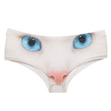 LEIMOLIS cat eyes white Animal funny print sexy hot panties female kawaii Lovely underwear push up briefs women lingerie thongs стоимость