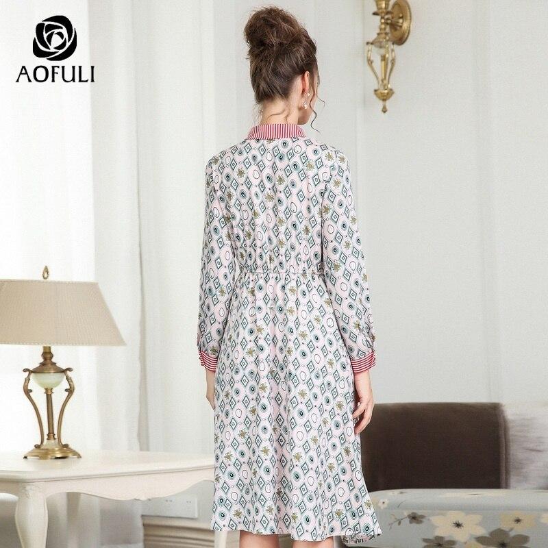 À Plus Rose Style A3670 5xl L Manches Automne Robe 4xl Du Vêtements xxxl Size Cou Femmes Robes Longues Femelle Midi Ras Aofuli Imprimé Col gC6x8g4