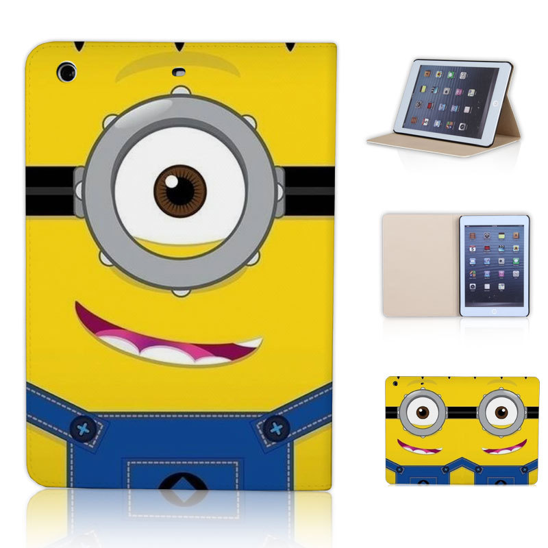 BTD Single Eye Minions Flip Tablet Case Cover for ipad mini Retina 1 2 3 Free Shipping P031-ip-mini