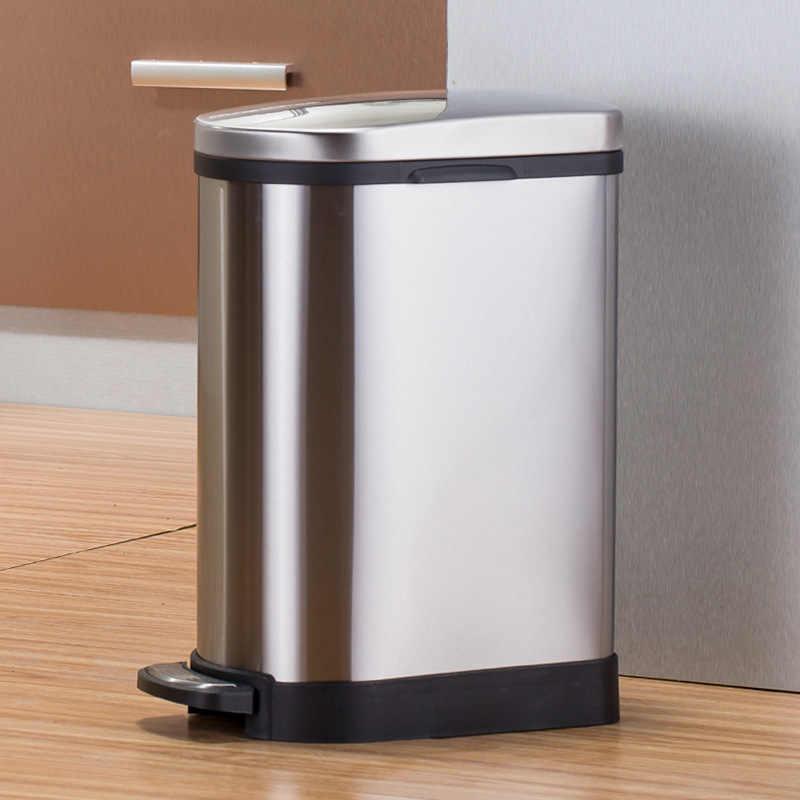 10L ステンレス鋼足ダウンごみ箱家庭用キッチンバスルームリビングルームバレル台所ごみビンリサイクルビン