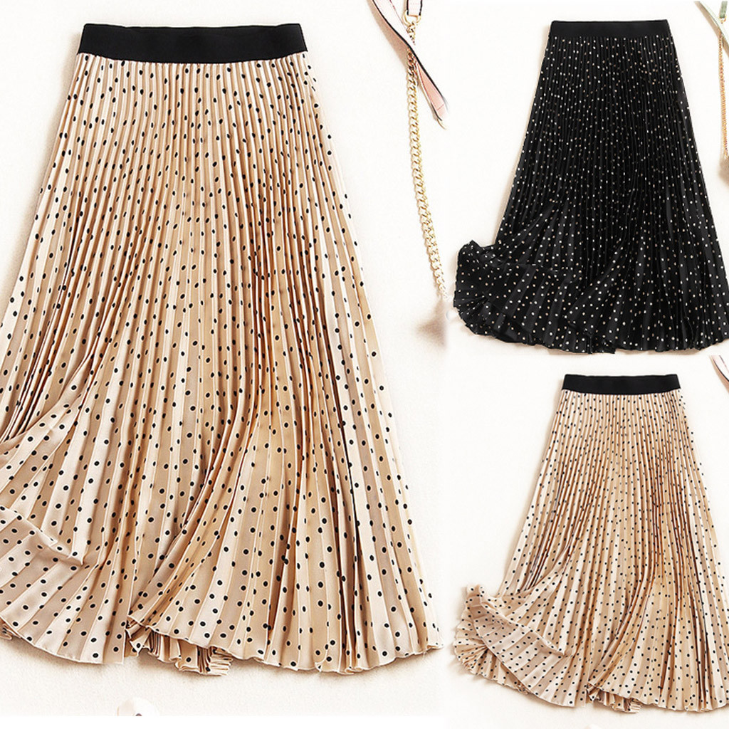 Women Long Skirts Elastic Waist Pleated Skirts Beach Boho Vintage Summer