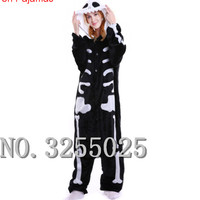 MengShuFen Gothic Skull Unisex Flannel Lovers Couples Animal Pajamas Cartoon Cosplay Pajama Costume Adult Unicorn Pajama