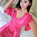 A12# new simulation silk female silk suit couple lace big yard spring and autumn home service Sleeping robe set