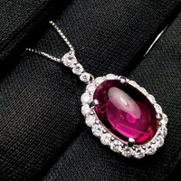 Fine Jewelry Real Pt900 Platinum Gold 100% Natural Rubi Tourmaline 5.93ct Female Diamond Gemstones Diamonds Pendants Necklaces