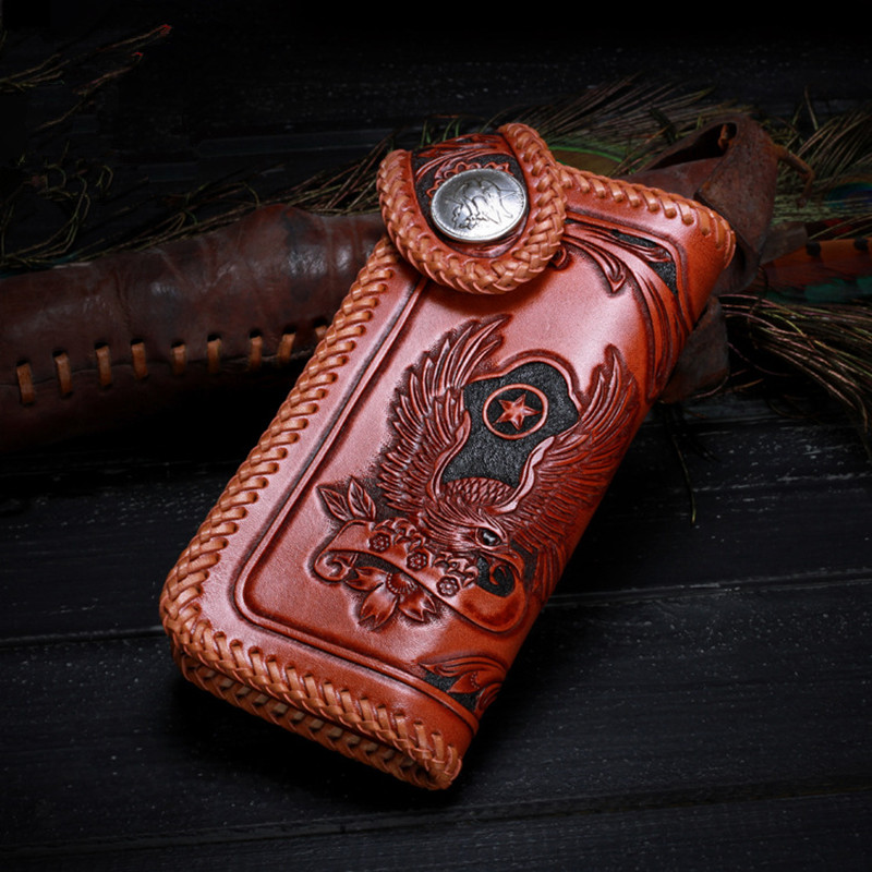 Men Genuine Leather Wallets Carving Eagle Flower Bag knitting Purses Women Long Clutch Vegetable Tanned Leather Wallet Gift hong kong olg yat handmade carving wallet eagle mat men s brief paragraph vertical purse italian pure leather short wallets