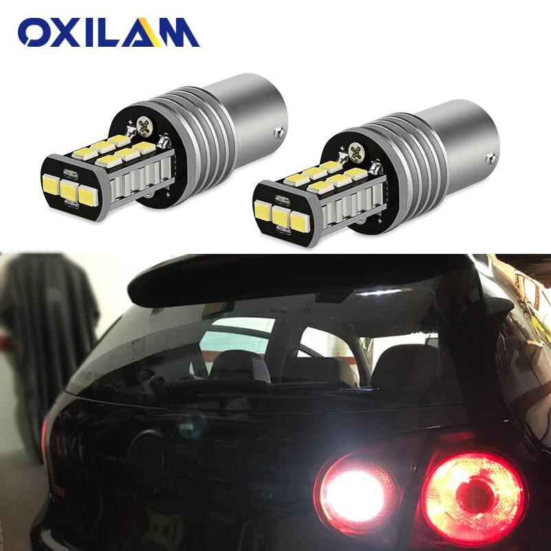 OXILAM 2Pcs BA15S LED Bulbs Canbus No Error P21W 1156 Led Backup Reverse Light For Volkswagen VW Passat B5 B6 01-10 DRL Car Lamp