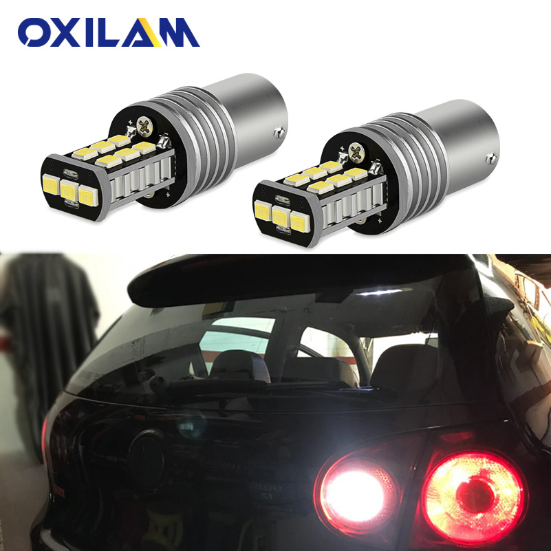 OXILAM 2Pcs BA15S <font><b>LED</b></font> Bulbs Canbus <font><b>No</b></font> <font><b>Error</b></font> <font><b>P21W</b></font> 1156 <font><b>Led</b></font> Backup Reverse Light for Volkswagen VW Passat B5 B6 01-10 DRL Car Lamp image