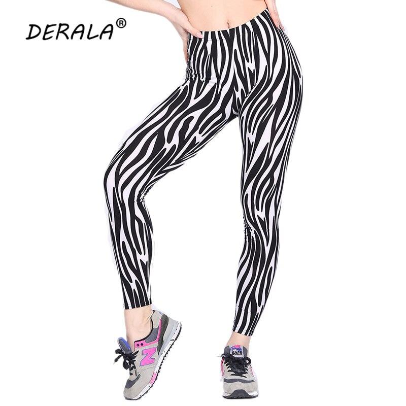 Ultra Soft Zebra Stripe Patterned   Leggings   Women Stretchy Animal Design Leggins Elastic Pencil Pants Fashion Trousers