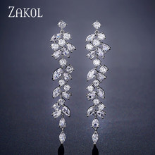 ZAKOL Newest CZ Zirconia Crystal Leaf Long Drop Earrings for Elegant Women Bridal Wedding Jewelry Accessories Gift FSEP2232