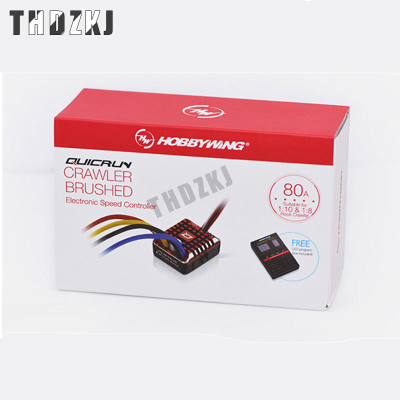 Hobbywing QuicRun WP 1080 Crawler Waterproof Brushed ESC Build-in BEC 2-3S Lipo With LED Programing Card for 1/10 1/8 RC CarS137 image