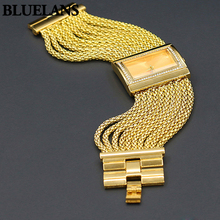 Ventas calientes Clásicos de Lujo Caja Del Diamante Venda de la Aleación de Oro Reloj de Cuarzo de Las Mujeres Reloj Pulsera
