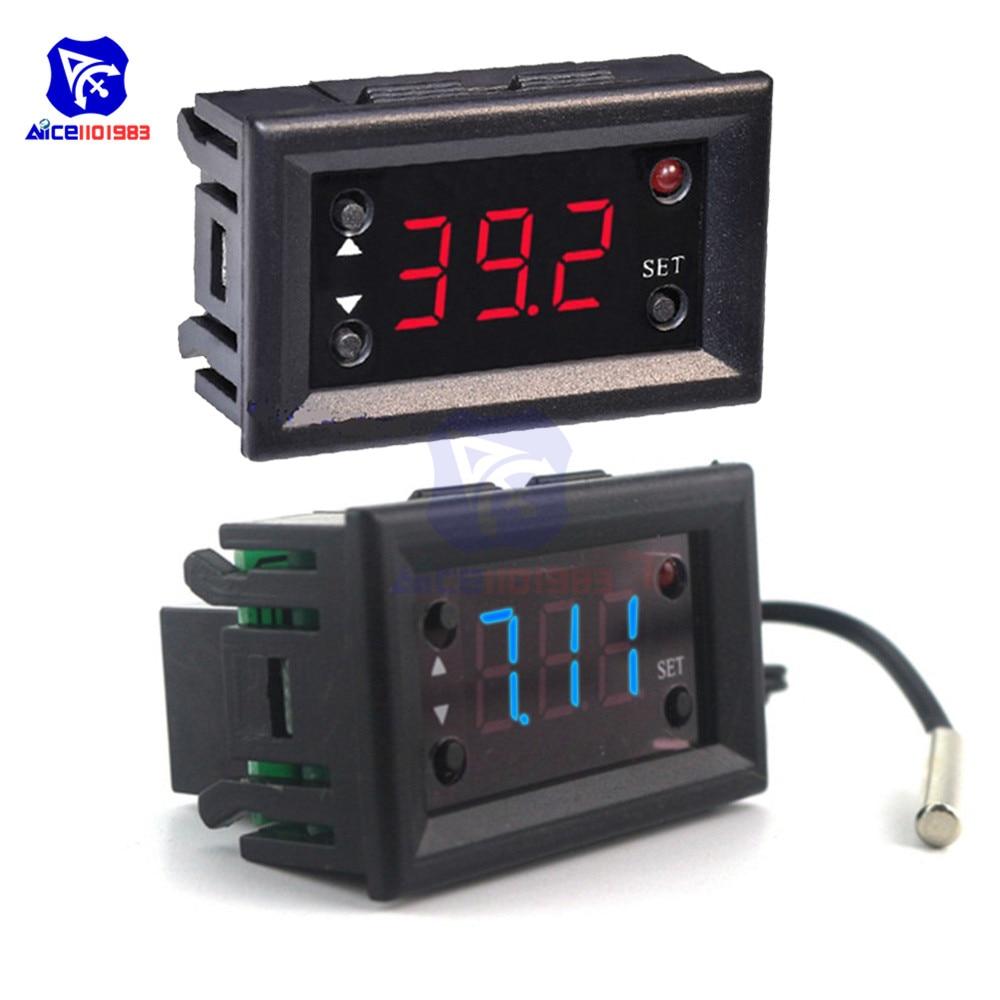 W1218 Digital Thermostat DC12V Temperature Controller For Incubator w// Probe Red
