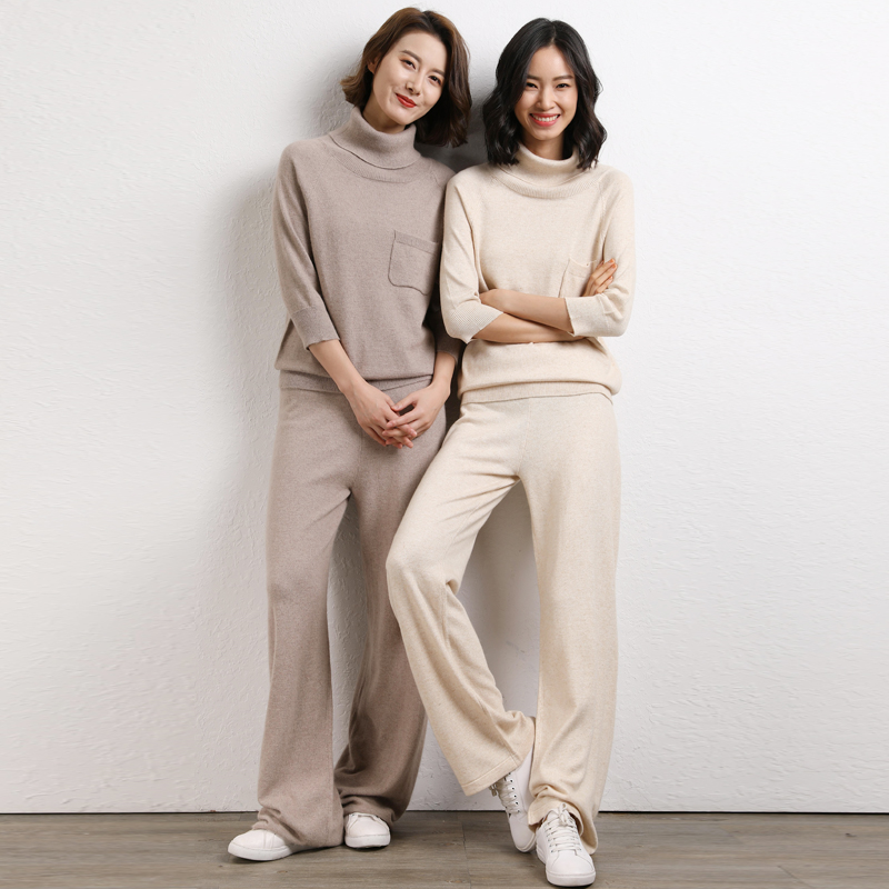 Women Pullover Sweater And Wide leg Pants Suits 2019 Turtleneck Knitted Loose Short Sleeve Sweater Trousers