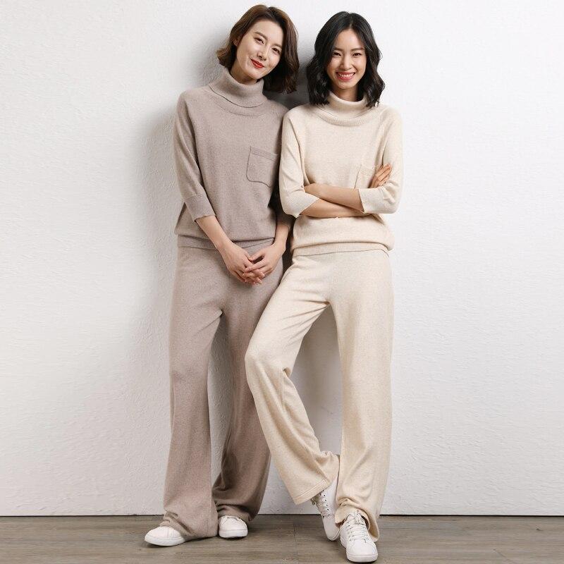 เสื้อกันหนาวผู้หญิงและกางเกงขากว้างชุด 2019 ถักหลวมแขนสั้นเสื้อกางเกง 2 ชิ้นชุดหญิง-ใน ชุดสตรี จาก เสื้อผ้าสตรี บน   1