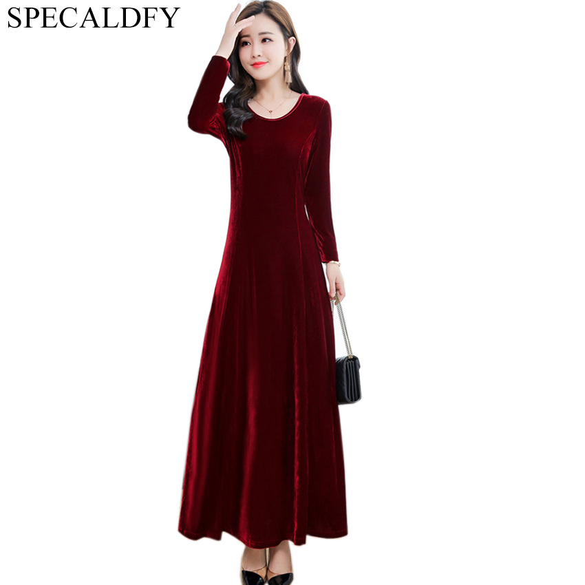 a6d0a7cb262 ... 00ed33d8ecc9b 3XL Ladies Office Dresses Women Long Sleeve Vintage Green  Black Velvet Dress Autumn Winter Dress ...