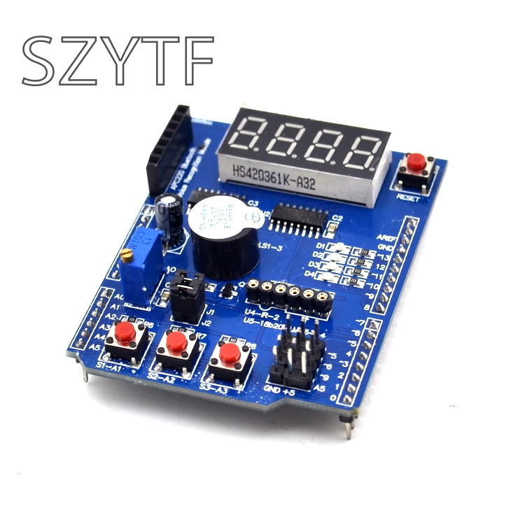 Multi Function Shield with Buzzer <font><b>LM35</b></font> 4 Digit Digital LED Expansion Board Module for Arduino UNO R3 Lenardo Mega2560 Diy Kit image