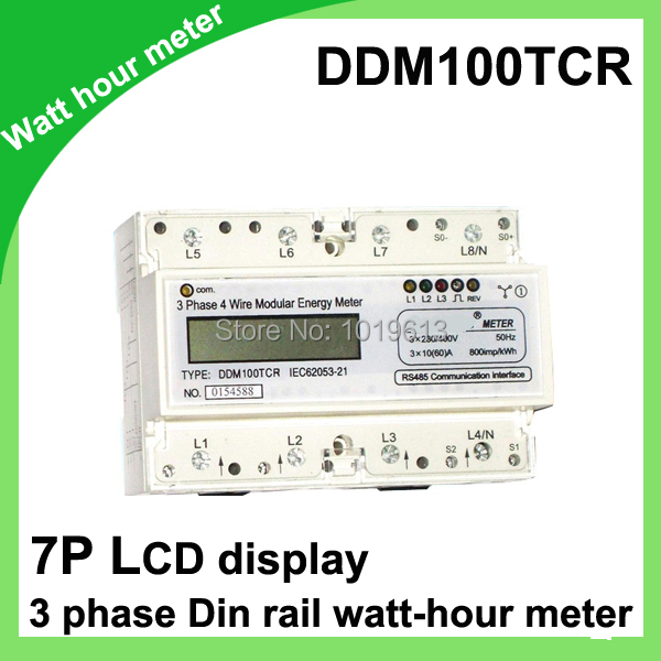 10(60)A 3*230V/400V 50HZ three phase Din rail KWH Watt hour din-rail monitor meter LCD with RS485 modbus 30 100 a three phase din rail energy meter 220v 230v 50hz monitor lcd display din rail kwh meter watt hour meters