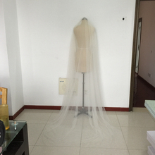 Beige Chapel Wedding Veils 96 Inch Bridal Veil Custom Color Raw Cut Custom Length Wedding Veil With Metal Combs Two Layer Veils
