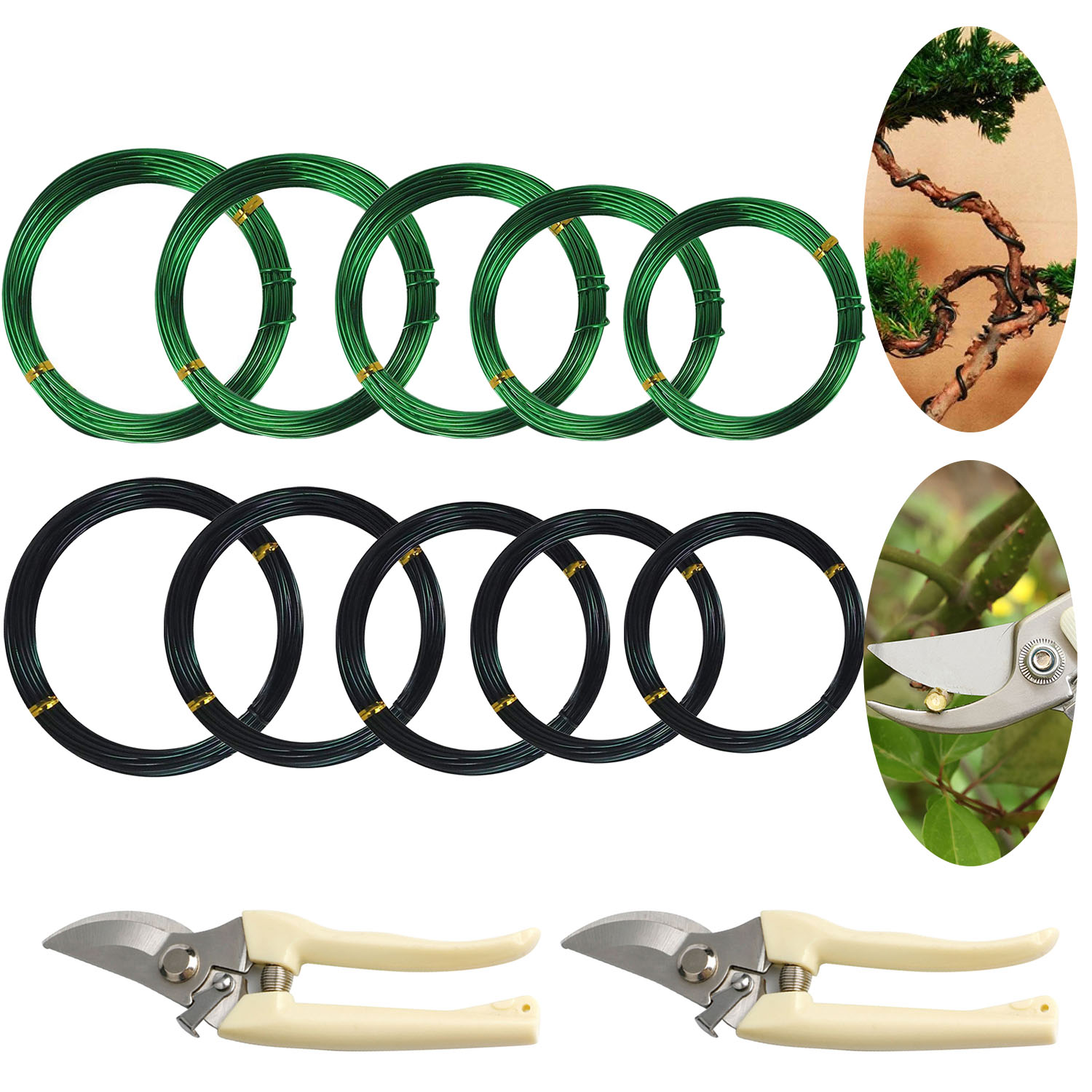 5 Roll 5m Aluminum Tree Training Wires with Garden Scissors for Bonsai Plant Beginners Trainers Artists 1mm/1.5mm/2mm/2.5mm/3mm5 Roll 5m Aluminum Tree Training Wires with Garden Scissors for Bonsai Plant Beginners Trainers Artists 1mm/1.5mm/2mm/2.5mm/3mm