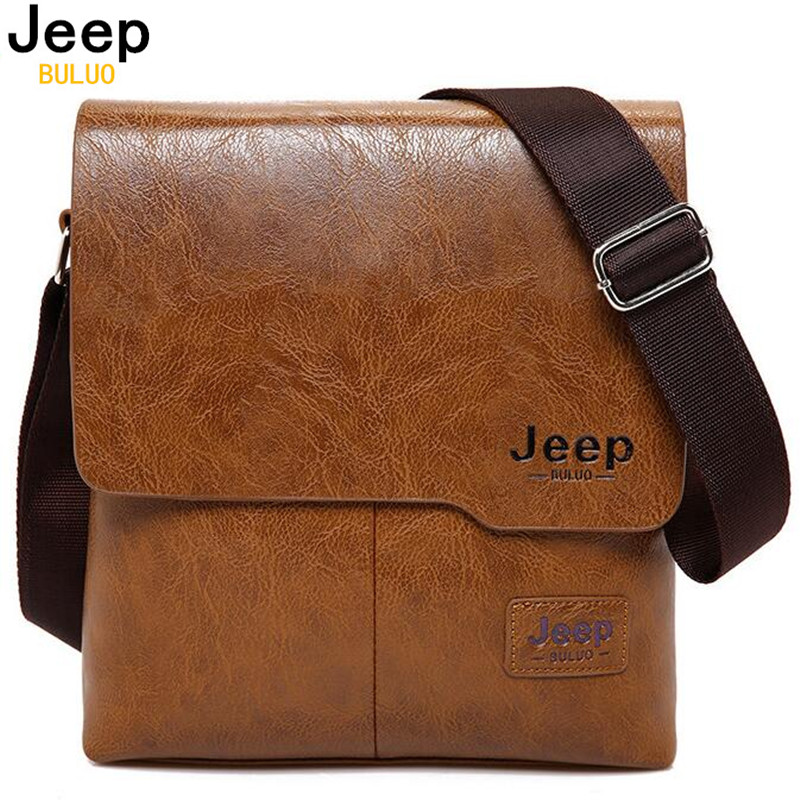 Men Tote Bags JEEP BULUO Famous Brand New Fashion Man Leather Messenger Bag Male Cross Body Shoulder Business Bags For Men 1505